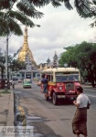 A bus in Rangoon. Shwedagon pagoda at the back.
