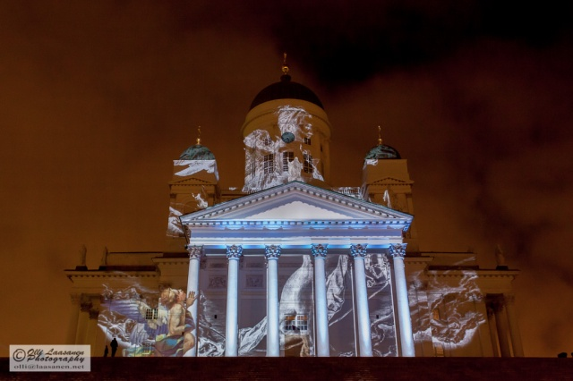 """Emergence"" is a large video projection that has been designed by the Casa Magica duo. The installation presents Helsinki Cathedral as a mythological object between the sea and the sky."