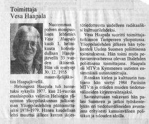 Vesa Haapalan kuolinilmoitus Helsingin Sanomissa 2.9.1989.