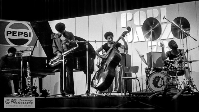 McCoy Tyner Quartet in Pori Jazz July 14, 1973 (from left: McCoy Tyner (p), Azar Lawrence (sax), Juini Booth (b) and Alphonse Mouzon (dr))