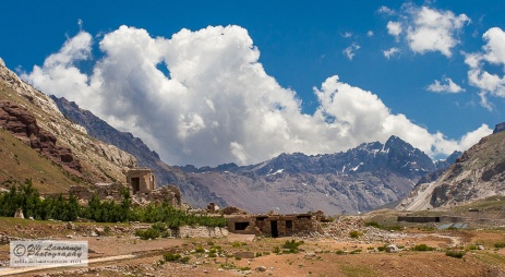 View to the Andes and to the ruins of the spa crushed by a landslide 1971.