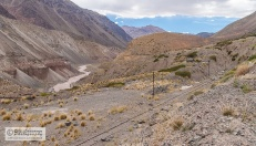 The railroad is following Mendoza river and its tributaries.