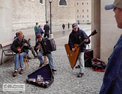 Balalaika and accordion trio in Saltzburg, Austria. July 1999