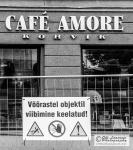 A café behind the bars.