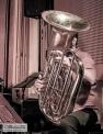 Pauline Boeykens hiding behind his tuba