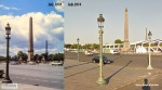 A street lamp, Luxor Obelisk and Eiffel Tower, seen from Place de la Concorde. The sceleton-like white construction is a temporary stadium for the 101st Tour de France.