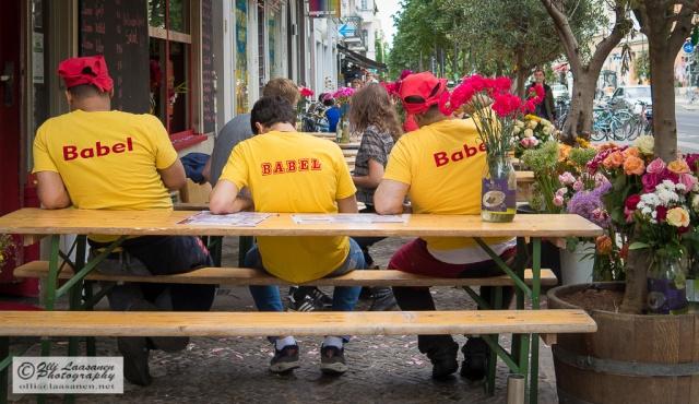 The staff of the Lebanese restaurant Babel at Kastanienallee 33 having a break.