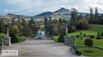 View from the 1st floor of  Powerscourt. At the back is the peak of Sugar Loaf, a prominent 500 m high hill.