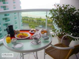 Breakfast on the balcony. Rio de Janeiro, Brazil.