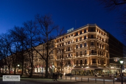 Classic hotel during early night. Helsinki, Finland.