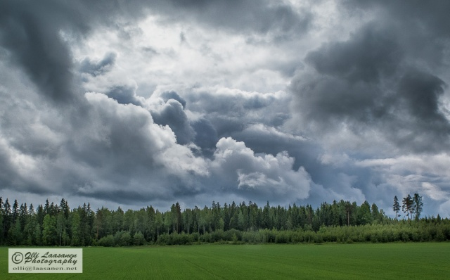 Mighty clouds during Midsummer eve morning in Mäntsälä, Finland.