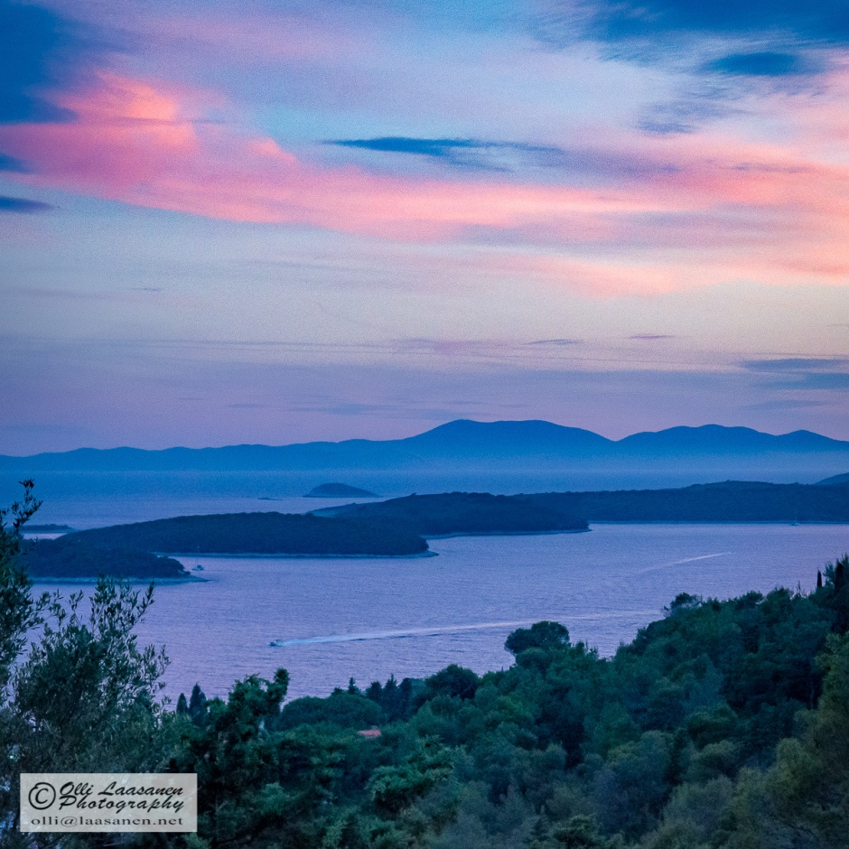Evening - Last rays of sun over the  Paklinski Islands, seen from the Spanish Fortress