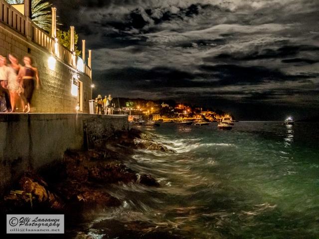 Night - The shoreline of the city of Hvar under moon light.