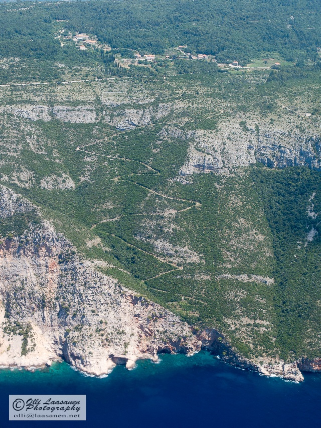 Zigzag road from Poljice, Croatia to the shore of Adriatic Sea