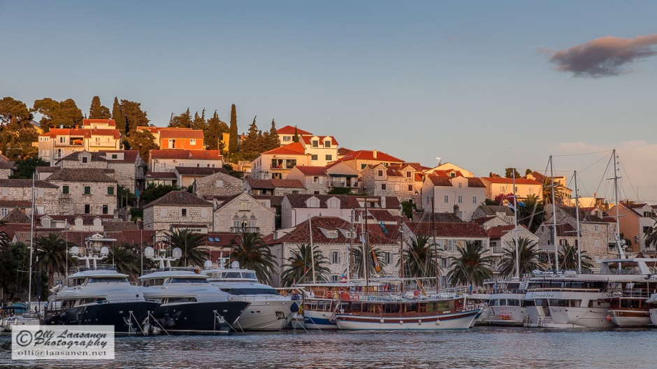 The last rays of the sun over Hvar