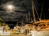 The port of Hvar during full moon night.