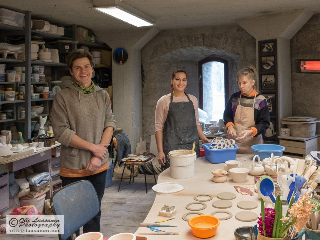 Lauri Kilusk, Kirke Hellamaa and Kärt Seppel in Asuur Ceramics workshop in April 2015.
