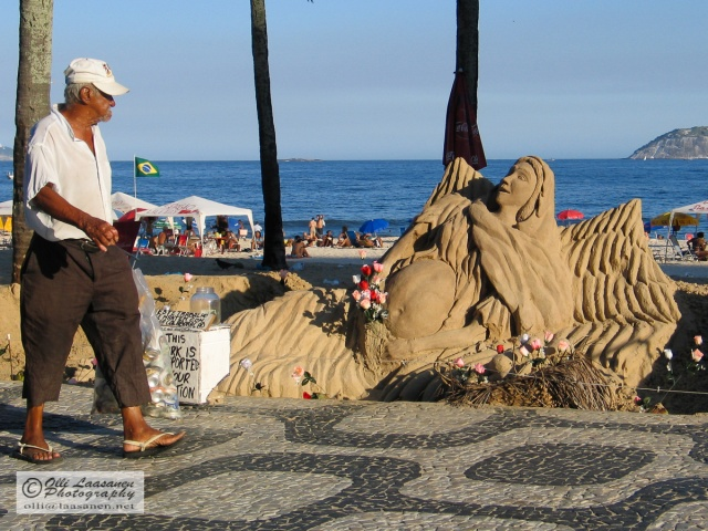 Sand sculpture in Rio de Janeiro, Brazil